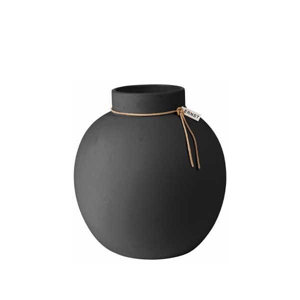 Ernst-rund-vas-i-stengods-mörkgrå