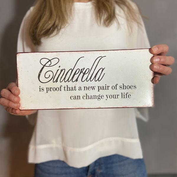 Plåtskylt med text, cinderella is proof