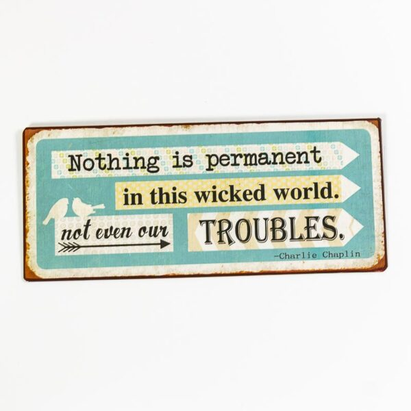 """Skylt """"Nothing is permanent in this wicked world, not even our troubles"""""""