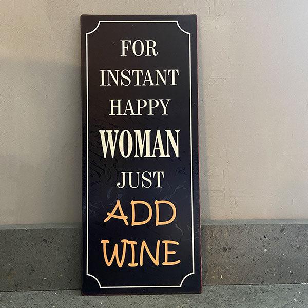 Plåtskylt-med-text,-For-instant-happy-woman