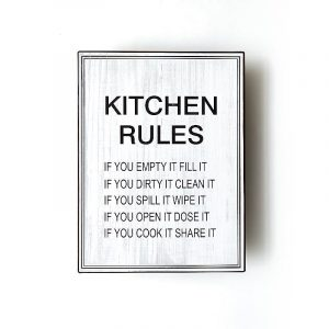 Plåtskylt- Kitchen rules, if you empty it fill it…