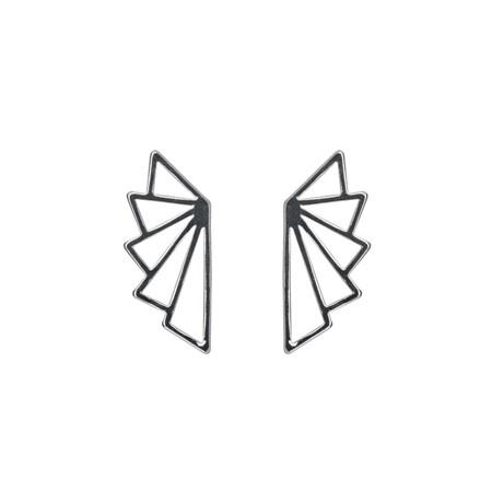 Geometrisk solfjäder Örhänge silver