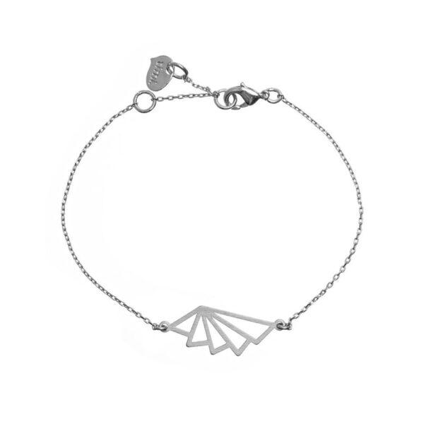 Geometrisk solfjäder Armband silver