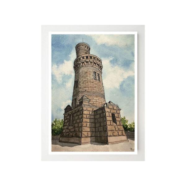 Kort med print av Vattentornet i Slottsskogen