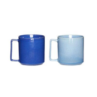 Kaffemuggar i blå kermik