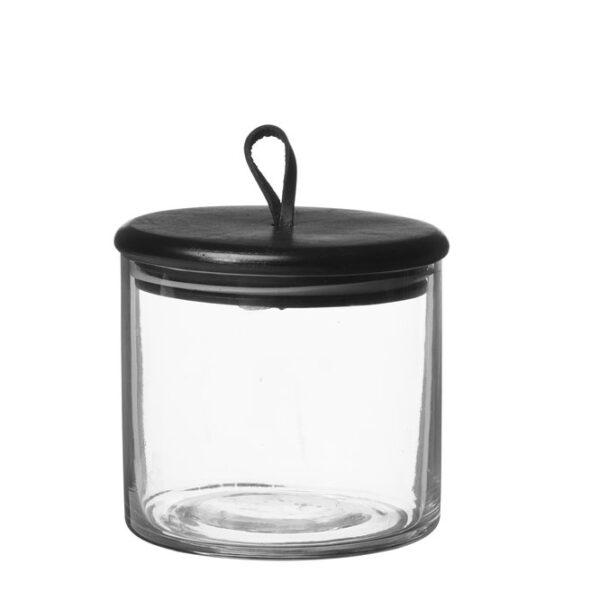 Glasburk Kuta liten med svart trälock