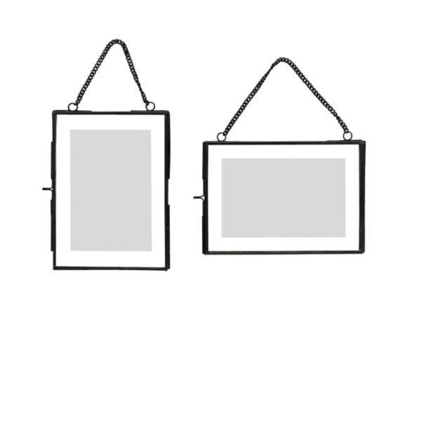 Fotoram i glas med kedja