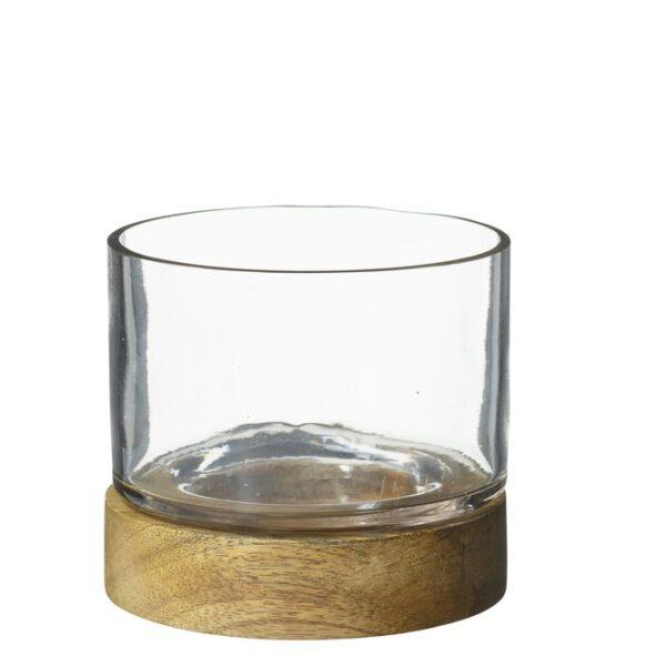 Ljusslykta Kuta i glas med trä under