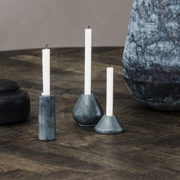 Ljusstake Iconia tre varianter i grått stengods