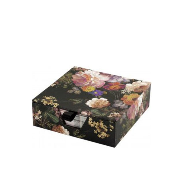Notisblock - Midnight Floral bloc i en liten ask