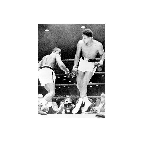 Dubbelvikt Kort - Ali in boxing ring, svartvitt fotografi som motiv