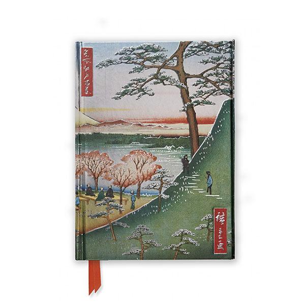 Anteckningsbok med hård pärm och vackert motiv Hiroshige-Meguro-Foiled Journal