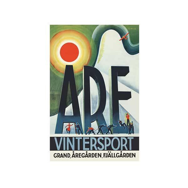 Vykort-med gammal bild från Åre-Vintersport