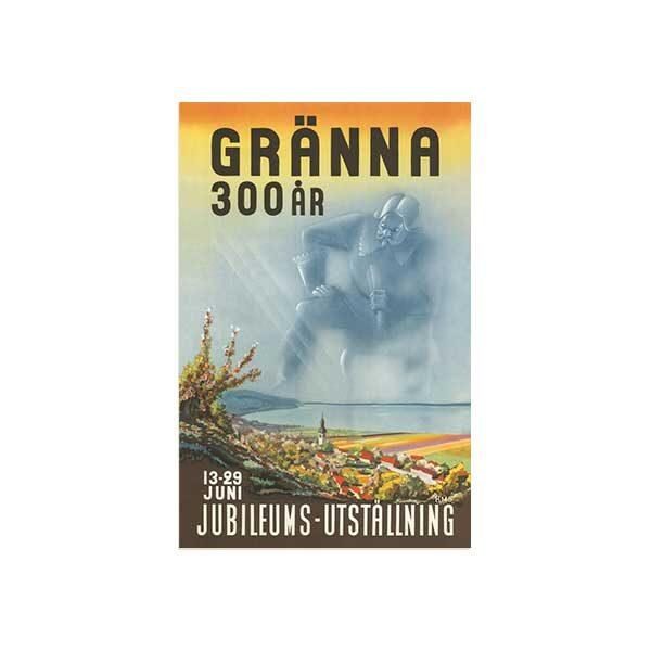 Vykort-med gammal bild från Granna-300ar
