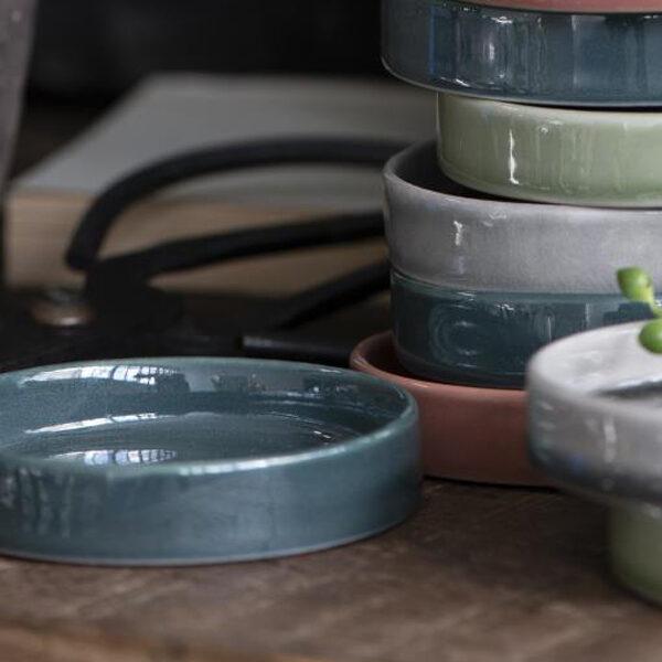 Ljusfat i keramik, petrol färg